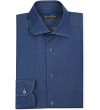 Corneliani Slim Fit Cotton Denim Shirt Indigo