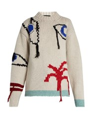 Joseph Eye And Tree Embroidered Wool Sweater Ivory Multi