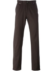 Brioni Twill Trousers Brown