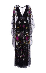Elie Saab Long Kaftan Dress With Embroidered Multicolor Stars Black Pink Yellow