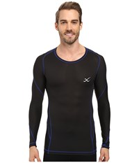 Cw X Long Sleeve Traxter Recovery Top Black Blue Men's Long Sleeve Pullover