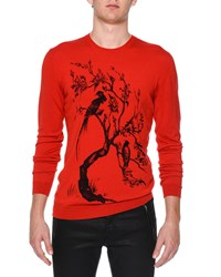 Alexander Mcqueen Floral Tree Print Crewneck Sweater Red
