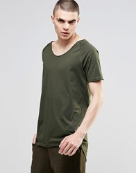 Asos Super Longline T Shirt With Raglan Sleeves And Raw Curved V Neck In Khaki Army Green