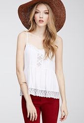 Forever 21 Lace Ruffled Crochet Cami White