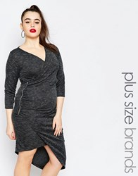 Missguided Plus Wrap Side Body Conscious Dress Gray