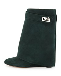 Givenchy Suede Shark Lock Fold Over Boot Forest Green
