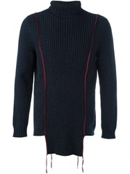 Yang Li Serged Roll Neck Jumper Blue