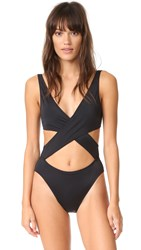 Solid And Striped The Poppy Wrap One Piece Black