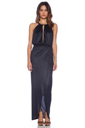 Nightcap Sueded Halter Gown Navy