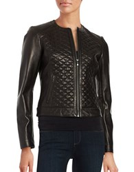 Cole Haan Quilted Leather Moto Jacket Black