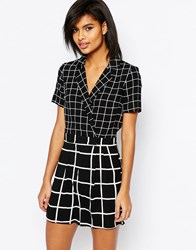 Asos Grid Playsuit With Wrap Front Multi