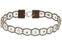 Chan Luu Bronze Adjustable Scalloped Lace Choker With Swavorski Crystals Necklace Bronze Necklace