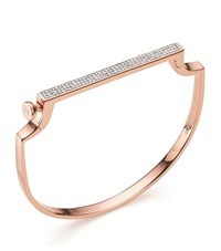 Monica Vinader Signature Thin Diamond Bangle Female Rose Gold