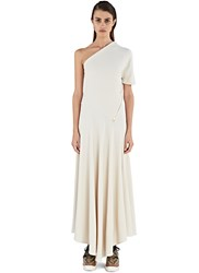 Stella Mccartney Long One Shouldered Zip Dress Neutrals