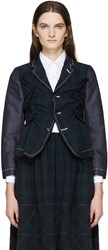 Tricot Comme Des Garcons Navy And Green Ruffled Tartan Blazer