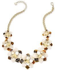 Charter Club Gold Tone Tortoiseshell Look Flower Statement Necklace Only At Macy's
