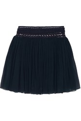 Chloe Guipure Lace Trimmed Silk Chiffon Mini Skirt Blue