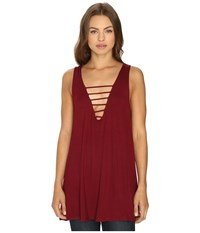 Lucy Love Cage Swing Top Oxblood Women's Dress Red