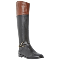 Dune Taffey Leather Buckle Knee High Boots Black Tan