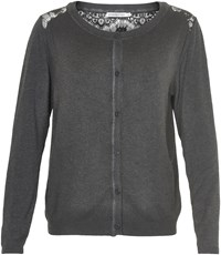 Soaked In Luxury Cardigan With Lace Detailing Grey