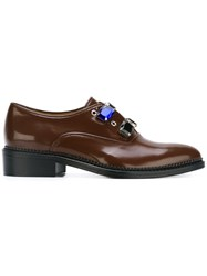 Toga Gem Embellished Oxford Shoes Brown