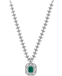 Effy Collection Brasilica By Effy Emerald 2 1 5 Ct. T.W. And Diamond 1 3 4 Ct. T.W. Collar Necklace In 14K White Gold Green