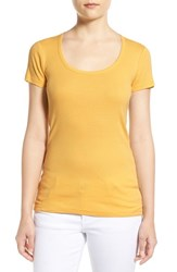 Women's Caslon Short Sleeve Scoop Neck Tee Yellow Mimosa