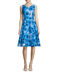 Carmen Marc Valvo Sleeveless Floral Print Fit And Flare Dress Size 8 Cobalt