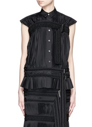 Sacai Braided Belt Fortuny Pleat Poplin Shirt Black