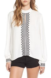 Sun And Shadow Women's Embroidered Woven Blouse Ivory