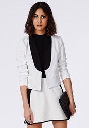 Missguided Monochrome Cropped Blazer White White