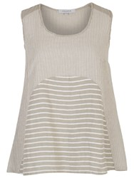 Chesca Mixed Stripe Linen Cami Beige