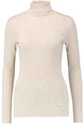 Tory Burch Ribbed Cotton Turtleneck Sweater Ecru
