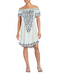 Saks Fifth Avenue Sequin Embroidered Off The Shoulder Dress Mint