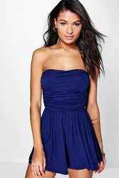 Boohoo Ruched Bandeau Playsuit Navy