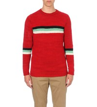 The Elder Statesman Striped Cashmere Jumper Red Mint Blk Wht