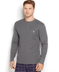 Polo Ralph Lauren Men's Big And Tall Thermal Crew Neck Shirt Charcoal Hthr