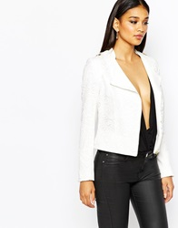 River Island Lace Biker Jacket Whitelace