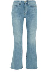 Mih Jeans M.I.H Lou Cropped Embroidered High Rise Flared Mid Denim