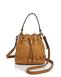 Milly Small Astor Whipstitch Drawstring Bucket Bag Caramel
