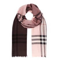 Burberry Shoes And Accessories Ombre Giant Check Wool Silk Scarf Female Nude