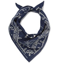 Rrl Printed Washed Cotton Bandana Indigo