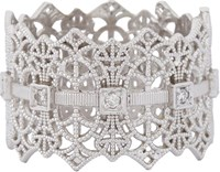Grace Lee Gold Lace Crown Ring Colorless