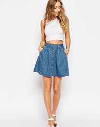 Asos Denim Button Front Mini Skater Skirt In Mid Wash Blue Mid Wash Blue