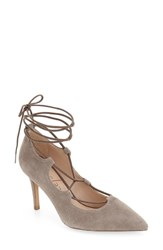 Sole Society Women's 'Madeline' Lace Up Pump Mushroom Suede
