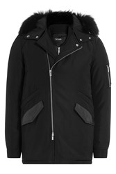 The Kooples Down Jacket With Fur Trimmed Hood With Vest Black