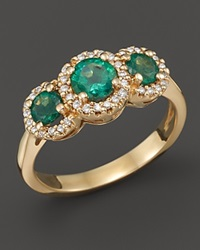 Bloomingdale's Emerald And Diamond 3 Stone Ring In 14K Yellow Gold Gold Green