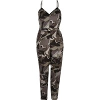River Island Womens Grey Camo Cami Jumpsuit