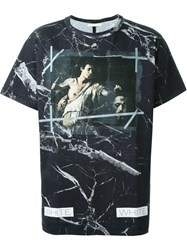Off White Marble Print T Shirt Black