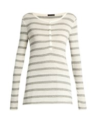 Atm Anthony Thomas Melillo Henley Long Sleeved Ribbed Jersey Top Grey Multi